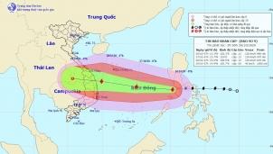 Cập nhật tình hình bão Molave: Cách đảo Song Tử Tây khoảng 620 km về phía Đông Đông Bắc