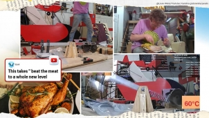 YouTuber nấu chín gà bằng cách cho máy... tát nó 135.000 cái