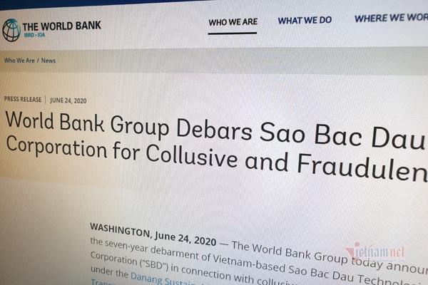 Ngân hàng Thế giới (World Bank) vừa tuyên bố sẽ cấm vận 7 năm đối với Công ty Công nghệ Sao Bắc Đẩu