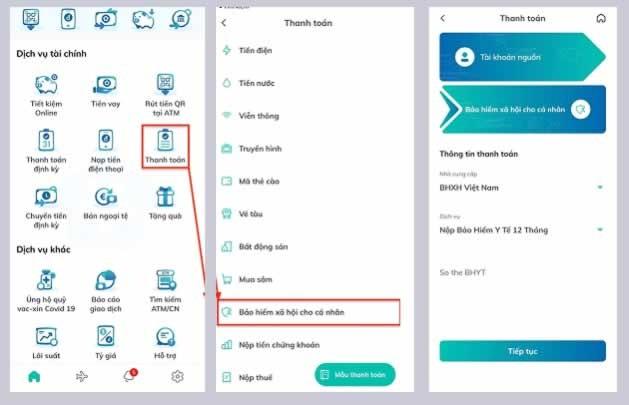 Ảnh chụp màn hình thanh toán BHXH trên ứng dụng BIDVSmart Banking