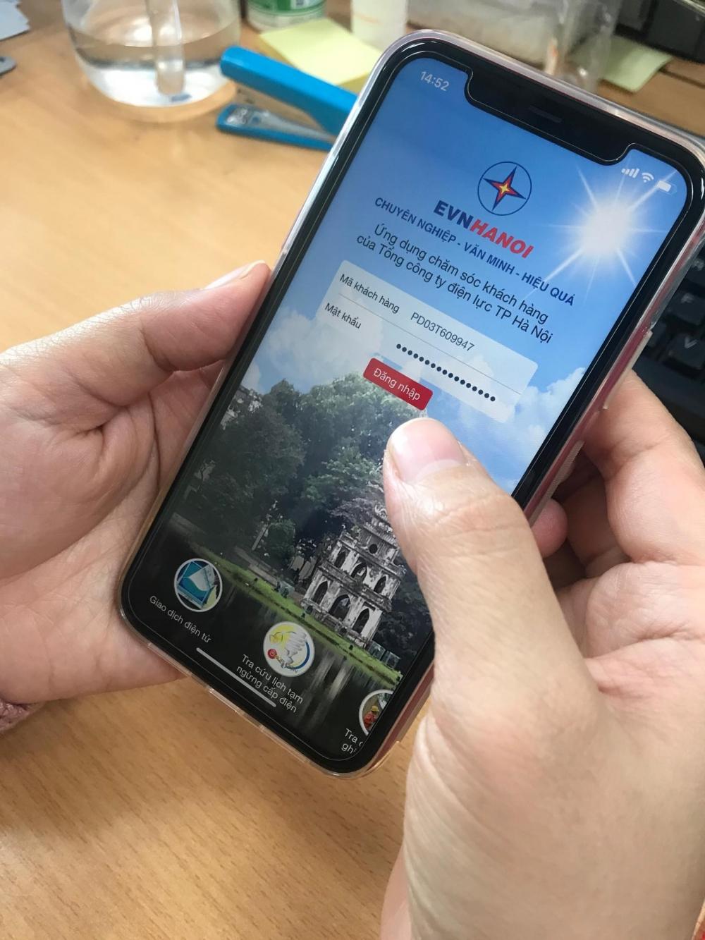 Các dịch vụ về điện trên địa bàn Hà Nội có thể thực hiện ngay trên smartphoen của người dùng