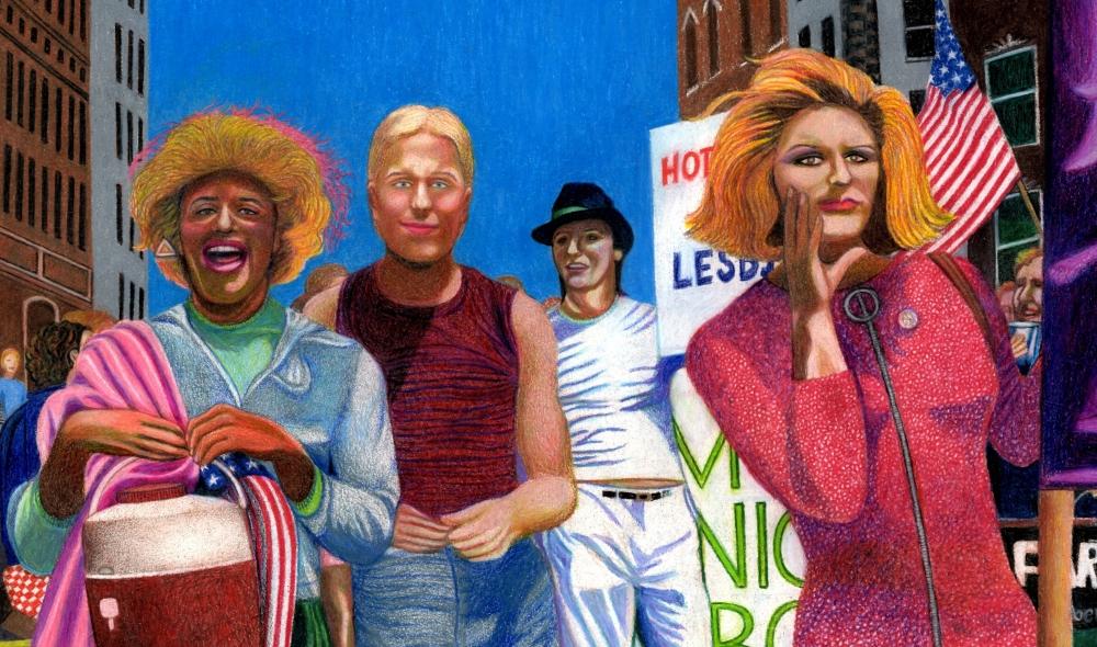 Marsha P. Johnson, Joseph Ratanski và Sylvia Rivera vào năm 1973 được vẽ bởi bởi Gary LeGault.