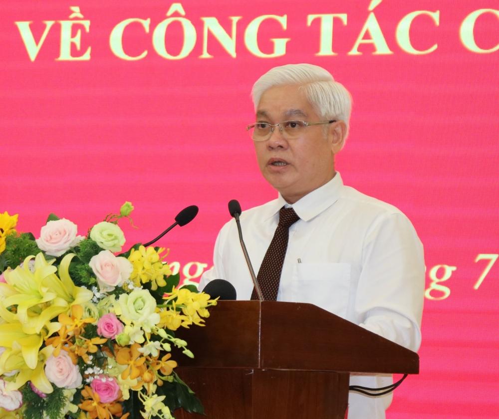 Tân Bí thư Tỉnh uỷ Nguyễn Văn Lợi phát biểu nhận nhiệm vụ mới