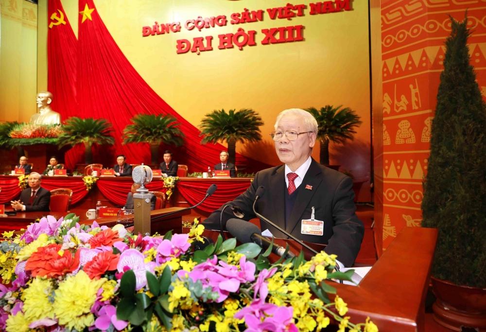 Tổng bí thư, Chủ tịch nước Nguyễn Phú Trọng đọc diễn văn bế mạc Đại hội đại biểu toàn quốc lần thứ XIII của Đảng
