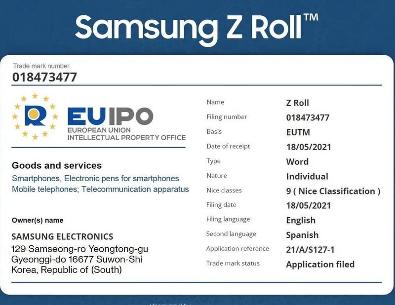 Bằng sáng chế Samsung Galaxy Z Roll