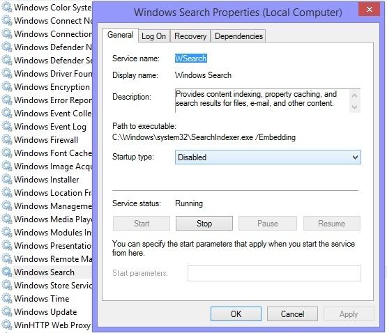 Service Windows Search