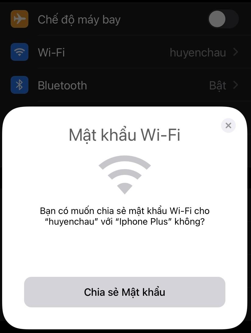 Cách chia sẻ wifi trên thiết bị cua Apple