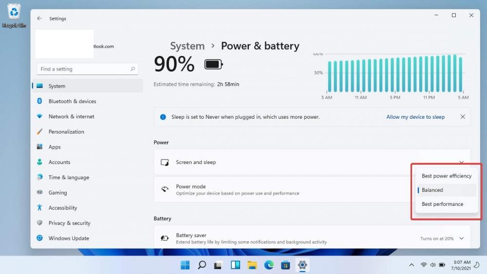 window 11: Tùy chọn nguồn điện hiệu năng cao