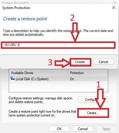 Create System Restore win 11