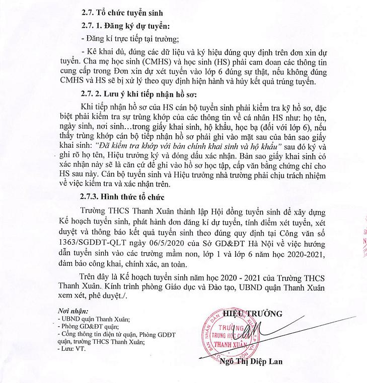 Tuyển sinh Trường THCS Thanh Xuân