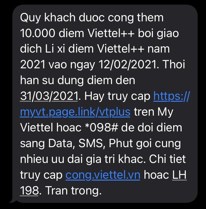 SMS LIXI Viettel 9000