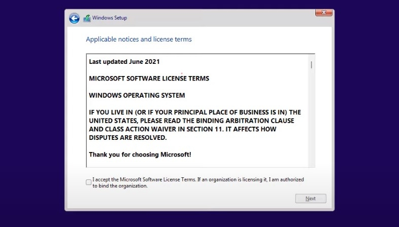 Chấp nhận điều khoản cài đặt Windows 11 Pro