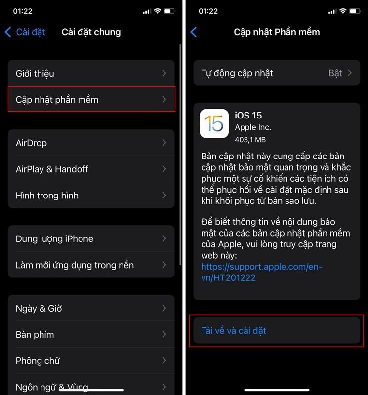 Cập nhật iOS 15 bản chính thức