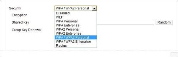 Thiết lập an ninh bằng cách chọn giao thức WPA2
