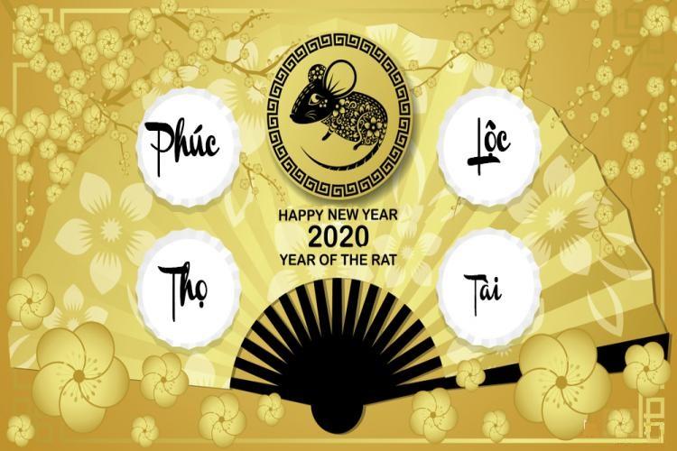 Chúc mừng năm mới 2020. Năm Canh Tý: PHÚC - LỘC - THỌ -TÀI